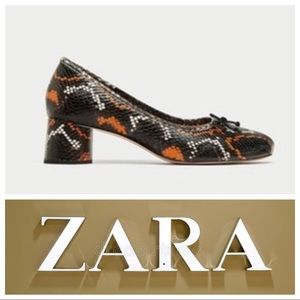 Zara Leather Snake Print Block Heel Ballerinas